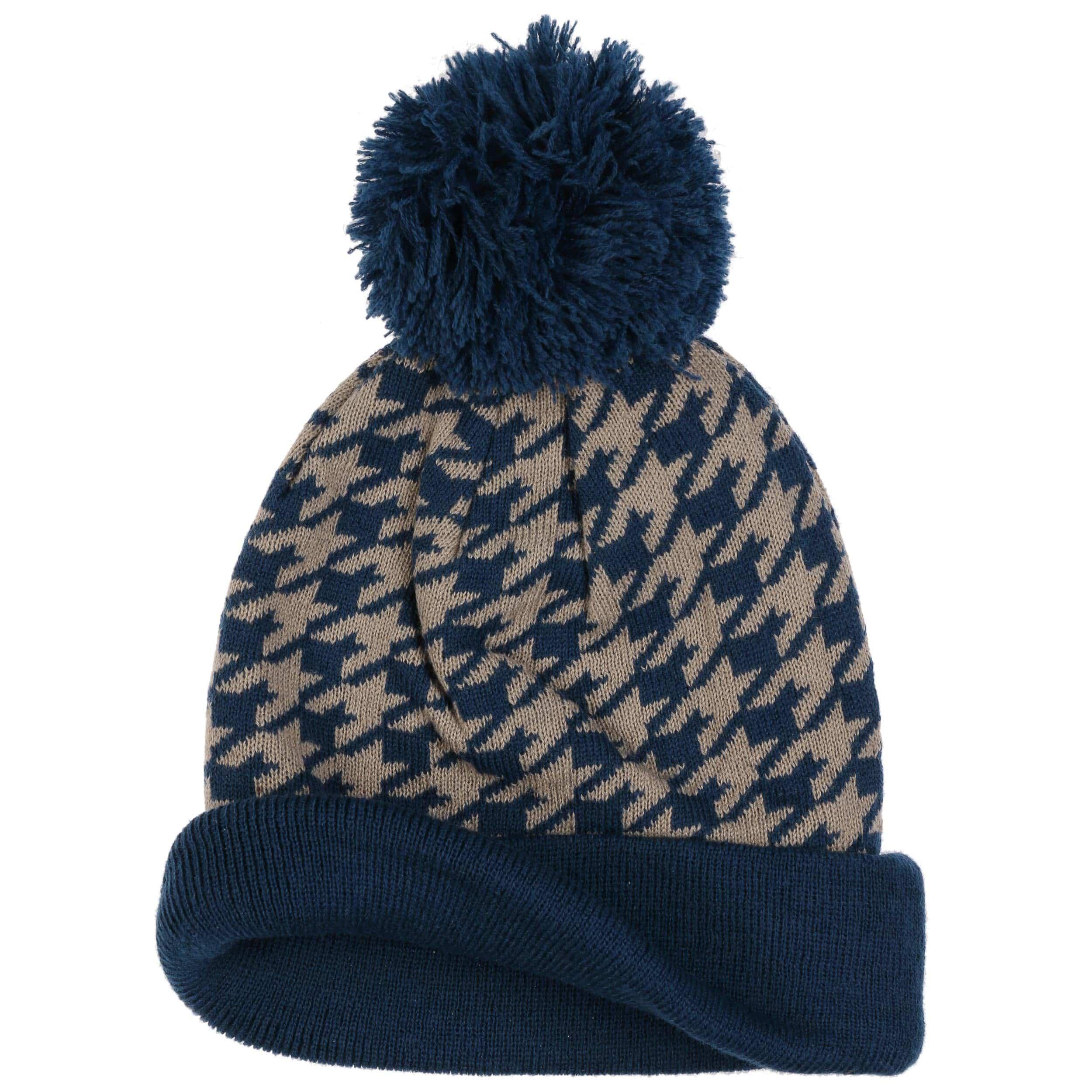 1b1924c7d9e36 Bonnet à Pompon Houndstooth - bleu foncé 1 ...